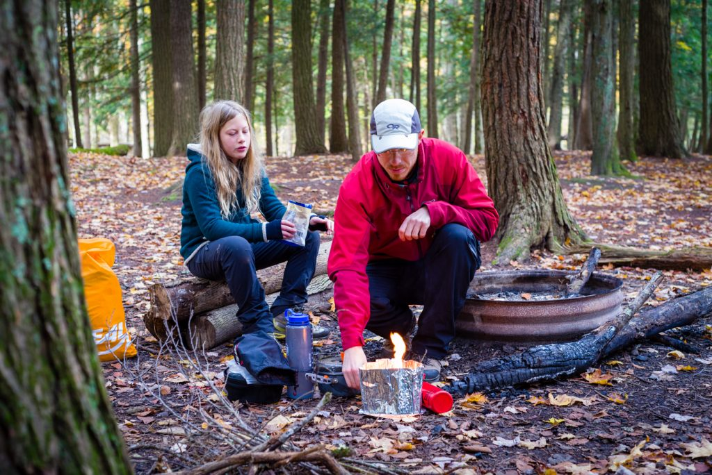 Breakfast over the stove at the campsite